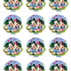 photo pour gâteau ronde 6 cm Mickey minnie