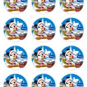 photo pour gâteau ronde 6 cm Mickey noël